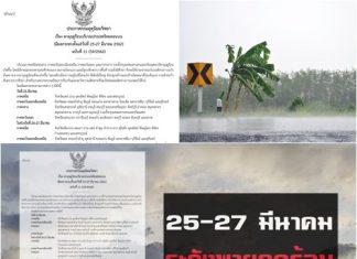 กรมอุตุฯประกาศเตือน25-27มี.ค.นี้ รับมือ'พายุฤดูร้อน'